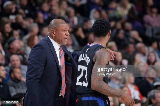 Head Coach Doc Rivers of the Los Angeles Clippers coaches Lou Williams against the Sacramento Kings on March 1 2019 at Golden 1 Center in Sacramento...
