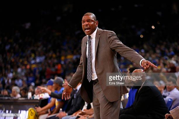 Head coach Doc Rivers of the Los Angeles Clippers complains about a call during their game against the Golden State Warriors at ORACLE Arena on...