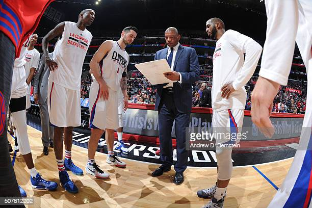 Head coach Doc Rivers of the Los Angeles Clippers draws up a play during the game against the Chicago Bulls on January 31 2016 at STAPLES Center in...