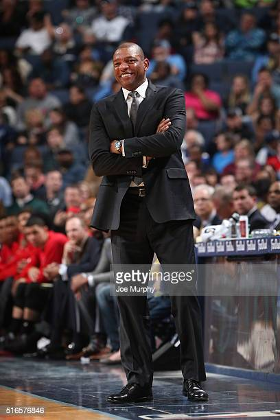 Head coach Doc Rivers of the Los Angeles Clippers during the game against the Memphis Grizzlies on March 19 2016 at FedEx Forum in Memphis Tennessee...