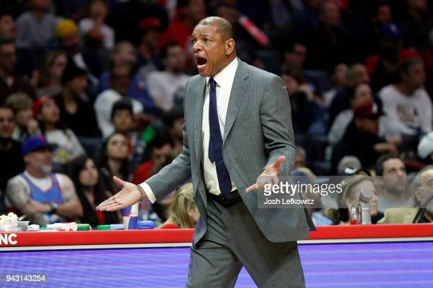 Head Coach Doc Rivers of the Los Angeles Clippers reacts during the game against the Denver Nuggets at Staples Center on April 7 2018 in Los Angeles...