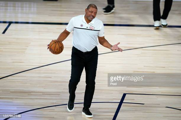 Head coach Doc Rivers of the Los Angeles Clippers reacts while talking to an official during the first half of an NBA basketball game against the...