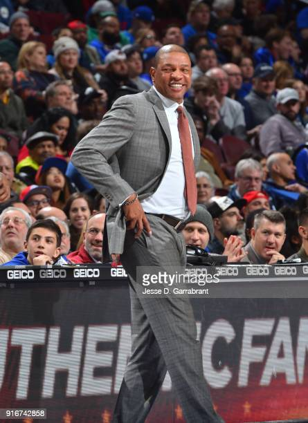 Head Coach Doc Rivers of the Los Angeles Clippers smiles against the Philadelphia 76ers at Wells Fargo Center on February 10 2018 in Philadelphia...