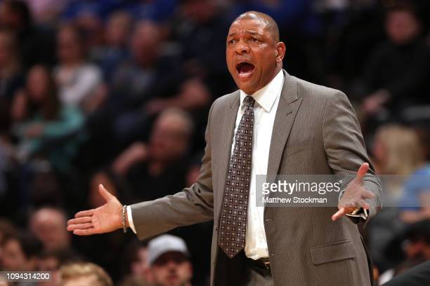 Head coach Doc Rivers of the Los Angeles Clippers works the sidelines against the Denver Nuggets at the Pepsi Center on January 10 2019 in Denver...