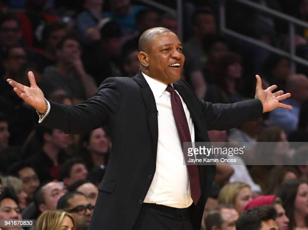 Head coach Doc Rivers of the Los Angeles Clippers yells in the fourth quarter of the game against the San Antonio Spurs at Staples Center on April 3...