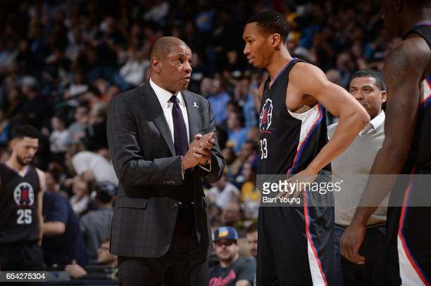 Head coach Doc Rivers talks with Wesley Johnson of the LA Clippers during the game against the Denver Nuggets on March 16 2017 at the Pepsi Center in...
