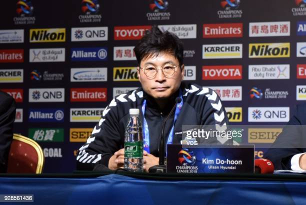 Head coach DoHoon Kim of Ulsan Hyundai attends a press conference after the AFC Champions League Group F match between Shanghai Shenhua and Ulsan...