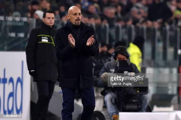 Head coach Domenico Di Carlo of Chievo looks on during the Serie A match between Juventus and Chievo at Allianz Stadium on January 21 2019 in Turin...