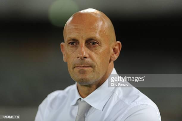 Head coach Domenico Di Carlo of Chievo looks on during the Serie A match between AC Chievo Verona and Bologna FC at Stadio Marc'Antonio Bentegodi on...
