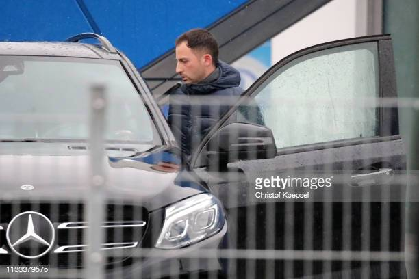 Head coach Domenico Tedesaco walks to his car after the training session of FC Schalke 04 at Training Hall on March 03, 2019 in Gelsenkirchen,...