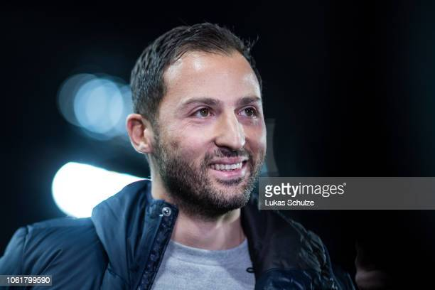 Head Coach Domenico Tedesco looks on during an interview prior to the DFB Cup match between 1. FC Koeln and FC Schalke 04 at RheinEnergieStadion on...
