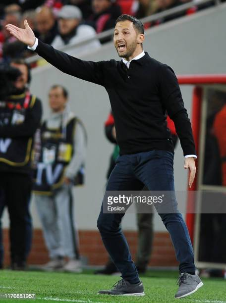 Head coach Domenico Tedesco of FC Spartak Moscow reacts during the Russian Premier League match between FC Spartak Moscow and FC Rubin Kazan on...