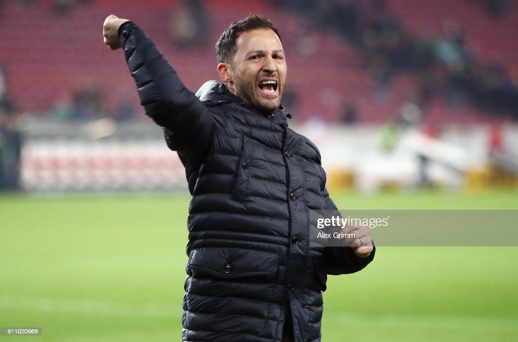 Head coach Domenico Tedesco of Schalke celebrates after the Bundesliga match between VfB Stuttgart and FC Schalke 04 at Mercedes-Benz Arena on January 27, 2018 in Stuttgart, Germany.