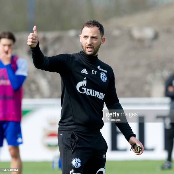Head coach Domenico Tedesco of Schalke gestures during a training session at the FC Schalke 04 Training center on April 10 2018 in Gelsenkirchen...