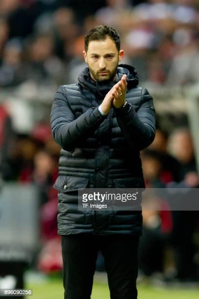 Head coach Domenico Tedesco of Schalke gestures during the Bundesliga match between Eintracht Frankfurt and FC Schalke 04 at CommerzbankArena on...