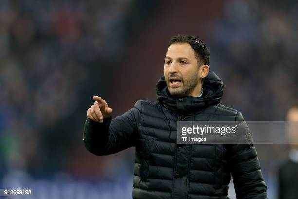 Head coach Domenico Tedesco of Schalke gestures during the Bundesliga match between FC Schalke 04 and SV Werder Bremen at VeltinsArena on February 3...