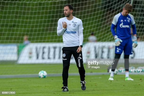 Head coach Domenico Tedesco of Schalke gestures during the Training Camp of FC Schalke 04 on July 30, 2017 in Mittersill, Austria.