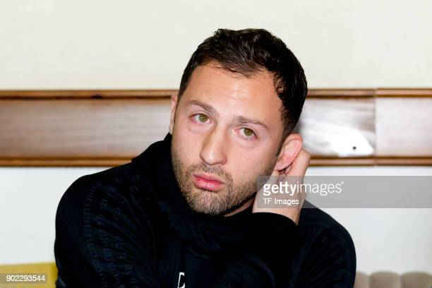 Head coach Domenico Tedesco of Schalke gives an interview during the FC Schalke 04 training camp at Hotel Melia Villaitana on January 06 2018 in...