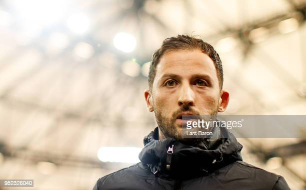 Head coach Domenico Tedesco of Schalke is seen during the Bundesliga match between FC Schalke 04 and Borussia Moenchengladbach at Veltins-Arena on...