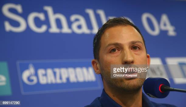 Head coach Domenico Tedesco of Schalke is seen during the presentation of new head coach Domenico Tedesco at Veltins-Arena on June 21, 2017 in...