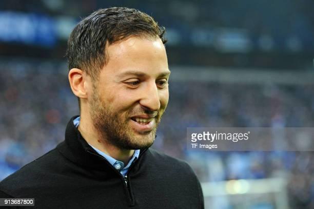 Head coach Domenico Tedesco of Schalke laughs prior to the Bundesliga match between FC Schalke 04 and SV Werder Bremen at VeltinsArena on February 3...