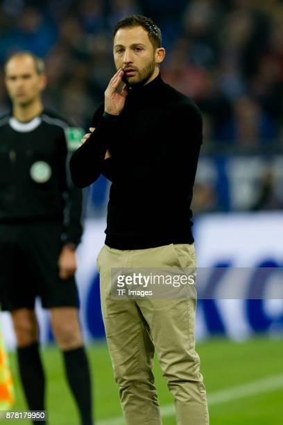 Head coach Domenico Tedesco of Schalke looks on during the Bundesliga match between FC Schalke 04 and Hamburger SV at VeltinsArena on November 19...