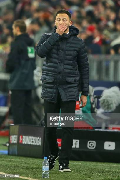 Head coach Domenico Tedesco of Schalke looks on during the Bundesliga match between FC Bayern Muenchen and FC Schalke 04 at Allianz Arena on February...