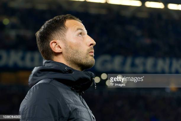Head coach Domenico Tedesco of Schalke looks on prior the Bundesliga match between FC Schalke 04 and FC Bayern Muenchen at VeltinsArena on September...