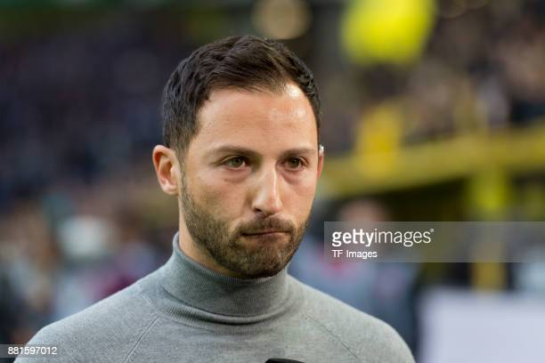 Head coach Domenico Tedesco of Schalke looks on prior the Bundesliga match between Borussia Dortmund and FC Schalke 04 at Signal Iduna Park on...