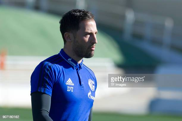 Head coach Domenico Tedesco of Schalke looks on prior to the Friendly match between FC Schalke 04 and KRC Genk at Estadio Municipal Guillermo Amor on...