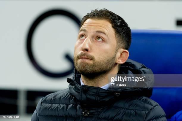 Head coach Domenico Tedesco of Schalke looks on prior to the Bundesliga match between FC Schalke 04 and FC Augsburg at VeltinsArena on December 13...