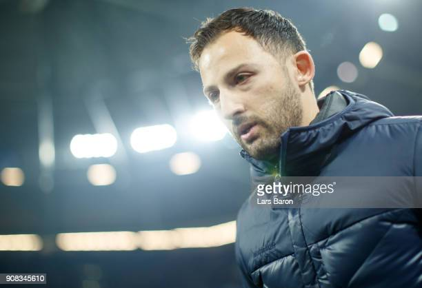 Head coach Domenico Tedesco of Schalke looks on prior to the Bundesliga match between FC Schalke 04 and Hannover 96 at VeltinsArena on January 21...