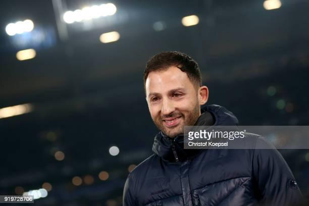 Head coach Domenico Tedesco of Schalke looks on prior to the Bundesliga match between FC Schalke 04 and TSG 1899 Hoffenheim at VeltinsArena on...