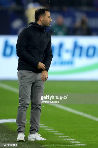 Head coach Domenico Tedesco of Schalke looks thoughtful during the Bundesliga match between FC Schalke 04 and FC Bayern Muenchen at VeltinsArena on...