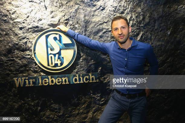 Head coach Domenico Tedesco of Schalke poses during the presentation of new head coach Domenico Tedesco at Veltins-Arena on June 21, 2017 in...