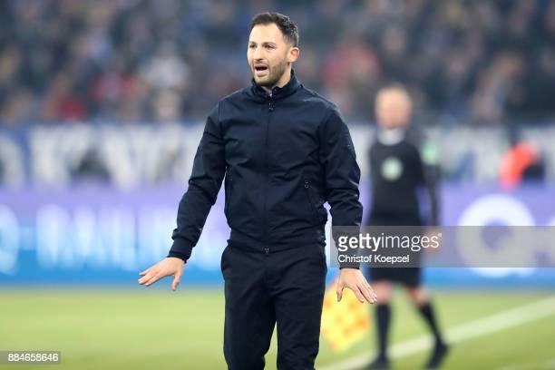 Head coach Domenico Tedesco of Schalke reacts during the Bundesliga match between FC Schalke 04 and 1 FC Koeln at VeltinsArena on December 2 2017 in...