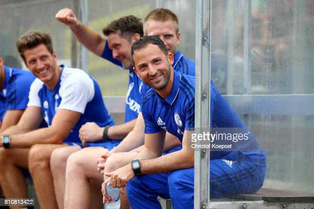 Head coach Domenico Tedesco of Schalke smiles during the preseason friendly match between SpVgg Erkenschwick and FC Schalke 04 at Stimberg Stadium on...