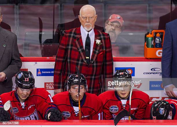 Head coach Don Cherry of Team Cherry is pictured on the bench while his team faces team orr during the third period of their CHL/NHL Top Prospects...