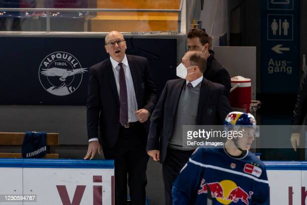 Head coach Don Jackson of EHC Red Bull Muenchen looks dejected during the DEL match between EHC Red Bull Muenchen and Augsburger Panther on January...