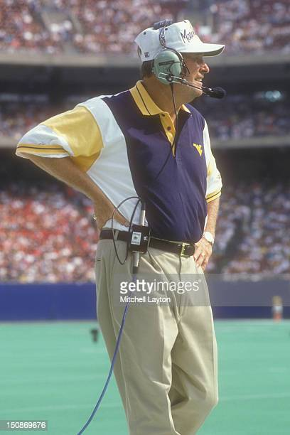 Head coach Don Nehlen of the West Virginia Mountaineers looks on during a college football game against the Nebraska Cornhuskers on August 31 1994 at...
