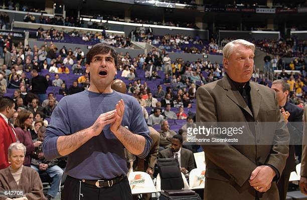 Head coach Don Nelson and Owner Mark Cuban of the Dallas Mavericks watch from the sidelines during the NBA game against the Los Angeles Lakers at the...