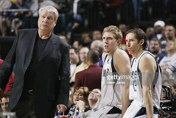 Head coach Don Nelson of the Dallas Mavericks stands next to his teammates Dirk Nowitzki and Steve Nash during the game against the New York Knicks...