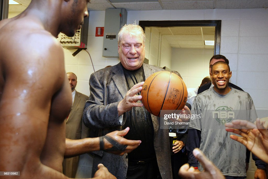 Head coach Don Nelson of the Golden State Warriors is presented the game ball from his team in celebration of becoming the all-time NBA winningest coach with 1,333 wins following a victory over the Minnesota Timbwerwolves on April 7, 2010 at the Target Center in Minneapolis, Minnesota.