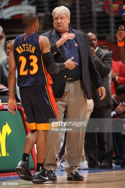 Head Coach Don Nelson of the Golden State Warriors speaks to CJ Watson during the game against the Los Angeles Clippers at Staples Center on November...