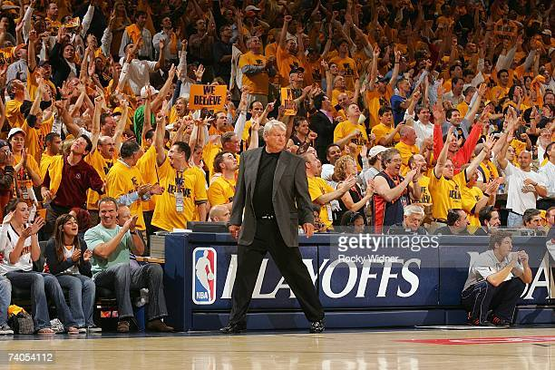 Head coach Don Nelson of the Golden State Warriors walks along the sideline in Game Three of the Western Conference Quarterfinals against the Dallas...