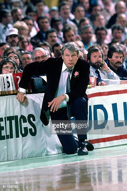 Head coach Don Nelson of the Milwaukee Bucks looks on against the Boston Celtics during a game played in 1987 at the Boston Garden in Boston...