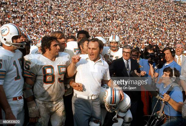 Head Coach Don Shula and Nick Bouniconti of the Miami Dolphins celebrates defeating the Washington Redskins in Super Bowl VII at the Los Angeles...