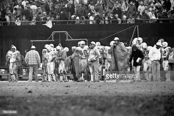 Head coach Don Shula of the Miami Dolphins watches the action from the sidelines during a game on December 10 1972 against the New York Giants at...