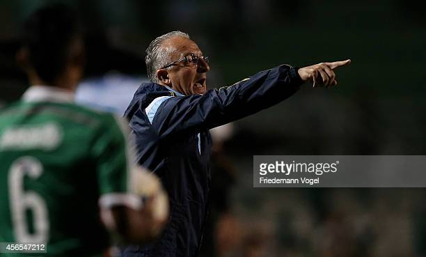 Head coach Dorival Junior of Palmeiras gives advise during the match between Palmeiras and Chapecoense for the Brazilian Series A 2014 at Estadio do...