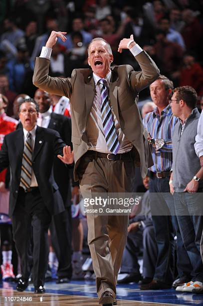 Head coach Doug Collins of the Philadelphia 76ers reacts during the game against the Atlanta Hawks on March 23 2011 at the Wells Fargo Center in...